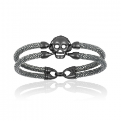 Double Bone Single Skull Bracelet