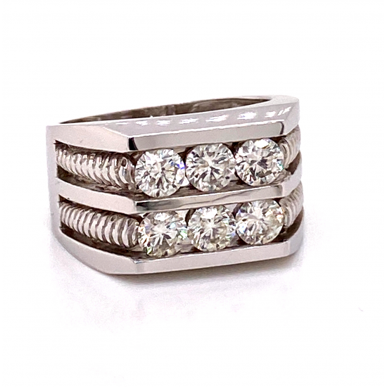 DOUBLE ROW THREE STONE MENS DIAMOND RING