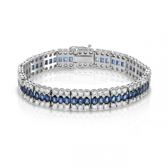 Blue Sapphire With Diamonds Bracelet