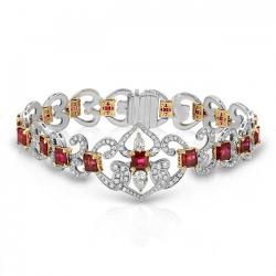 Two Tone Diamond And Rubies Bracelet