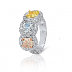 Three Stone Fancy Color Diamond Ring