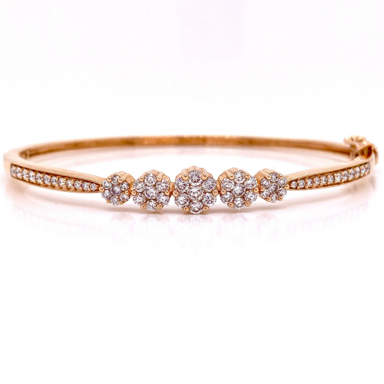 5 FLOWER CLUSTER DIAMOND BANGLE