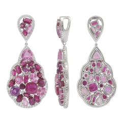 Ruby, Pink Sapphires And Diamond Pendant