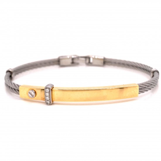 18kt Yellow and White Gold Mens Diamond Bracelet