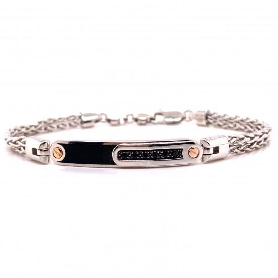 18kt White Gold and Silver Men's Bracelet